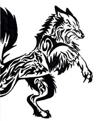 Wolf Tribal Celtic tattoo design