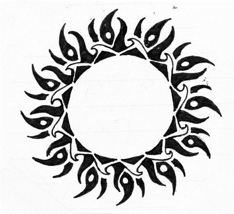 Celtic Tribal Sun Tattoo design