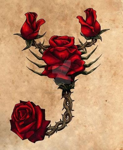 Floral Scorpion Tattoo