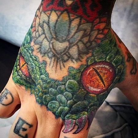 Lizard tattoo for hand