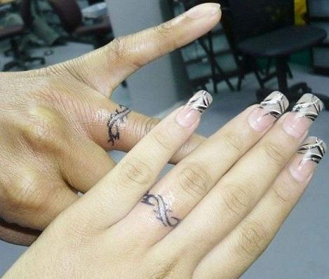 Sparkling Wedding Ring Tattoo Designs