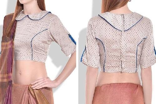 Polka dot circular Peter pan collar blouse design -019