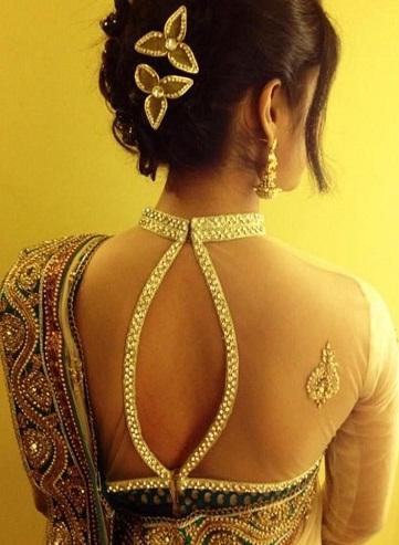 Transparent sheer back designed blouse -010