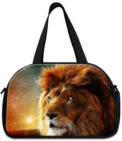 Lion Embossed Duffle Shoulder Bag