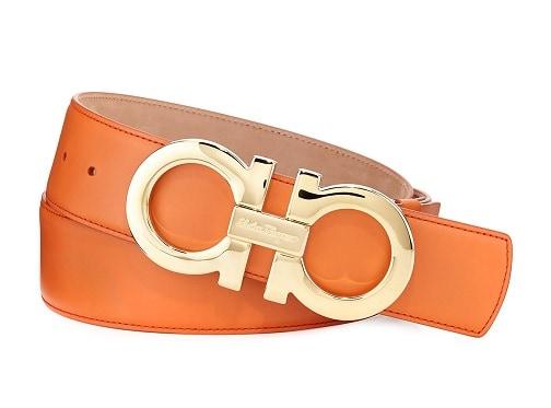 Adjustable Gancini Orange Belt