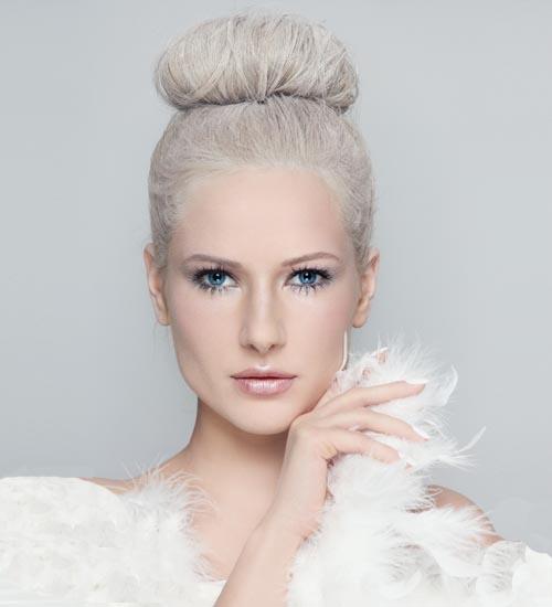 Platinum Blonde Top Bun Hairstyle