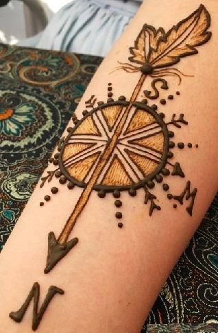 Compass Pattern Mehndi Stencils7