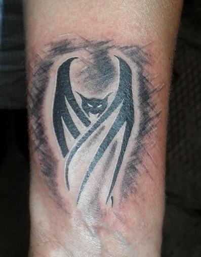 Trendy Bat Wrist Tattoo