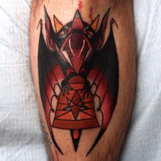 Aztec Pattern Bat Tattoo Design