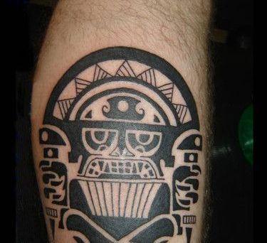 Bold Aztec Tattoo Design for Leg