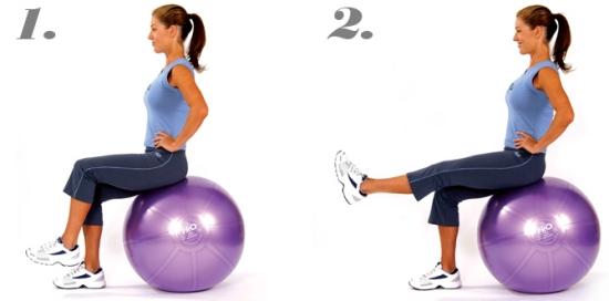 Swiss Ball Sitting Leg Lifts