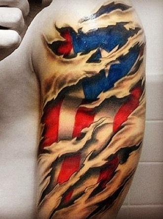 3D flag tattoo
