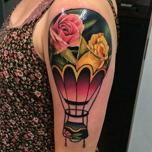 Outstanding Hot Air Balloon Tattoo Design