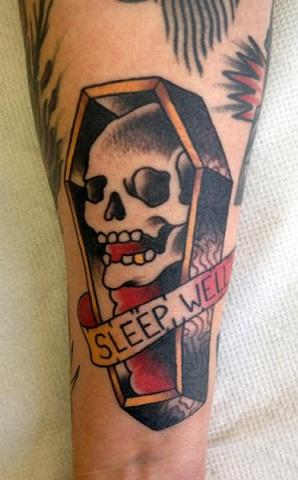 Sleep well coffin tattoo
