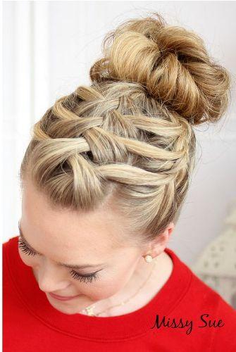 braided bun hairstyles - The Triple Braid