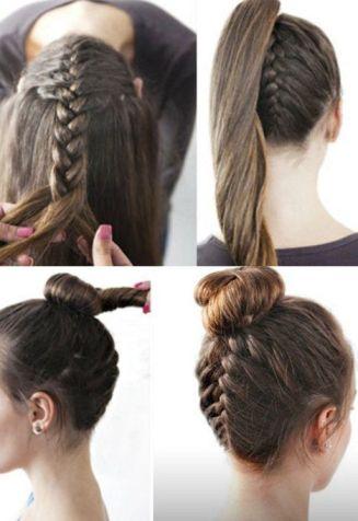 braided bun hairstyles - The Inverted Bun