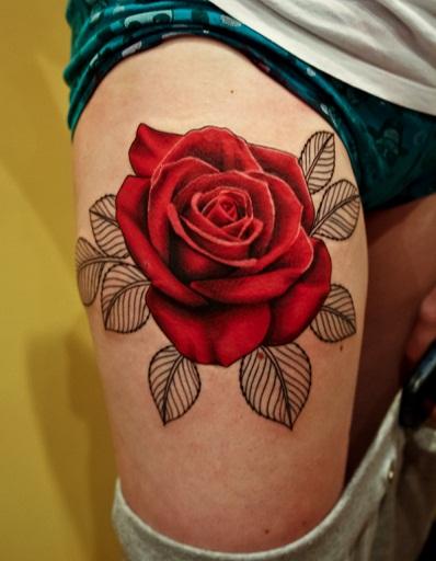 Tribal Ancient Rose Tattoo