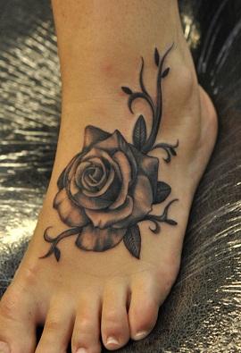 Tribal Rose Foot Tattoo