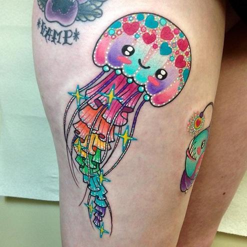 Cartoon Style Jellyfish Tattoo