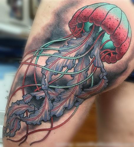 Neo Traditional Jellyfish Tattoo
