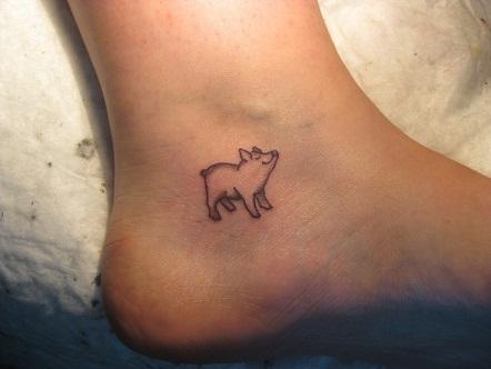 Cute small pig Tattoo