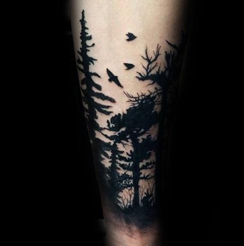 Solid Black Tree Tattoo Design