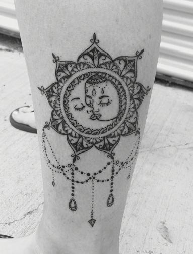 Celestial Combined Sun - Moon Tattoos