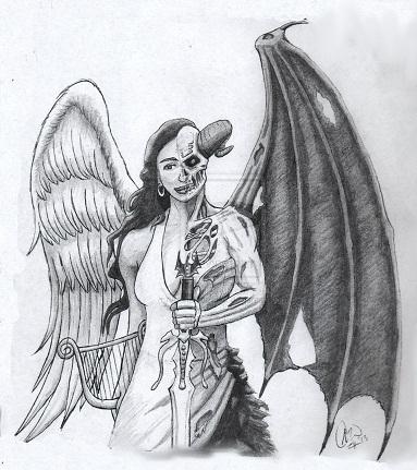 Angel style demon tattoo