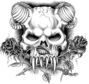 Demon skull type tattoo