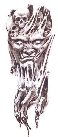 Demon face type tattoo