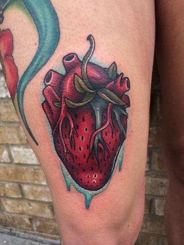 Strawberry Heart Tattoo
