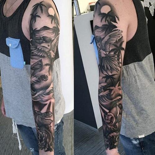 Shaded Palm Tree Tattoo