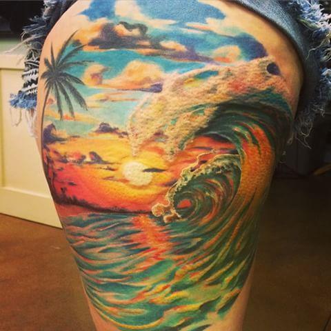 Ocean Waves Palm Tree Tattoo