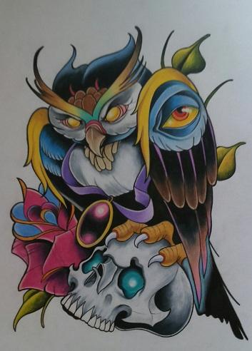 Fabulous New School Tattoo Design