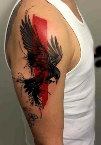 Polka Style Bird Tattoo