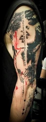 Trash Polka Sleeve Script Tattoos