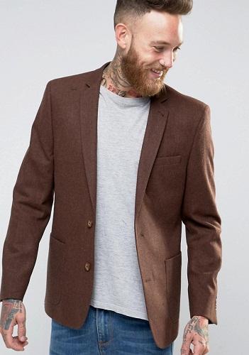 Dark Tan Woolen Blazer Jacket