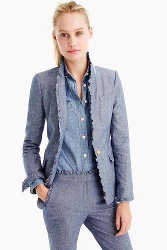 Women Ruffled Border Blazer Jacket Suit