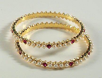 Stone Studded 20 Gram Gold Bangles
