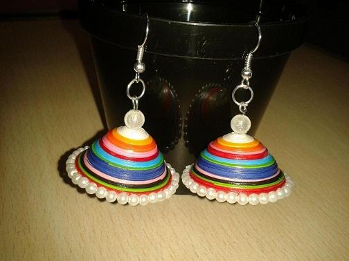 Rainbow Quilling Jhumkas