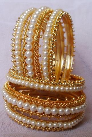 Gold-Pearls Studded Bangle Design