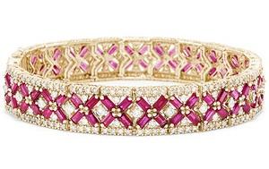 Diamond-Ruby Flat Thick Bangle Design