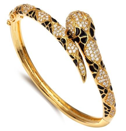 Snake Design Gold Plated Bangle
