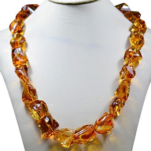 Citrine stone beaded necklace