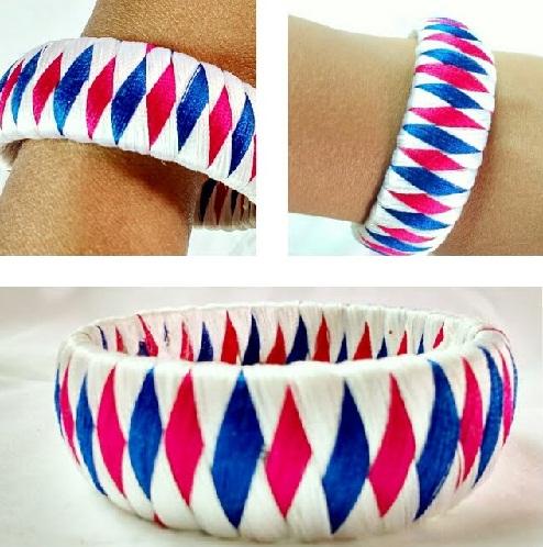 Tri-Color Silk Thread Bangle