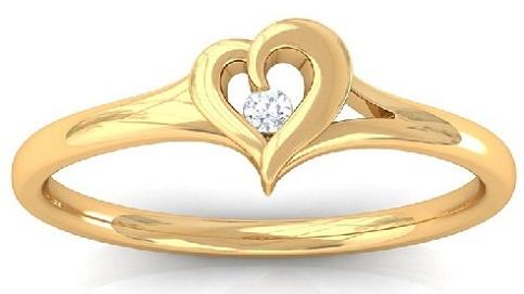 Golden Diamond Ring with Heart for Women