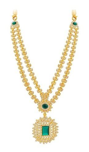 Emerald embedded gold platednecklace -2