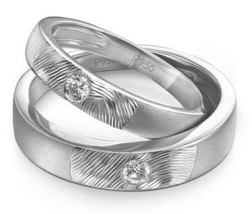 Matte Finish Platinum -Textured work Couple Ring