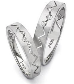 Zig zag Patterned Platinum Couple Ring