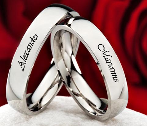 Name Embossed Couple Platinum Ring